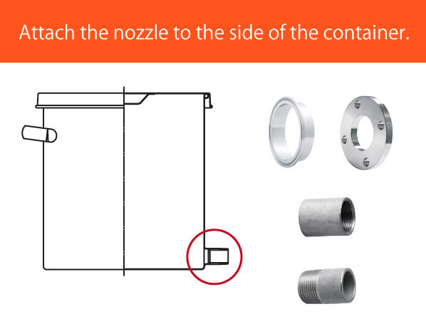 Nozzle processing to the side of the container